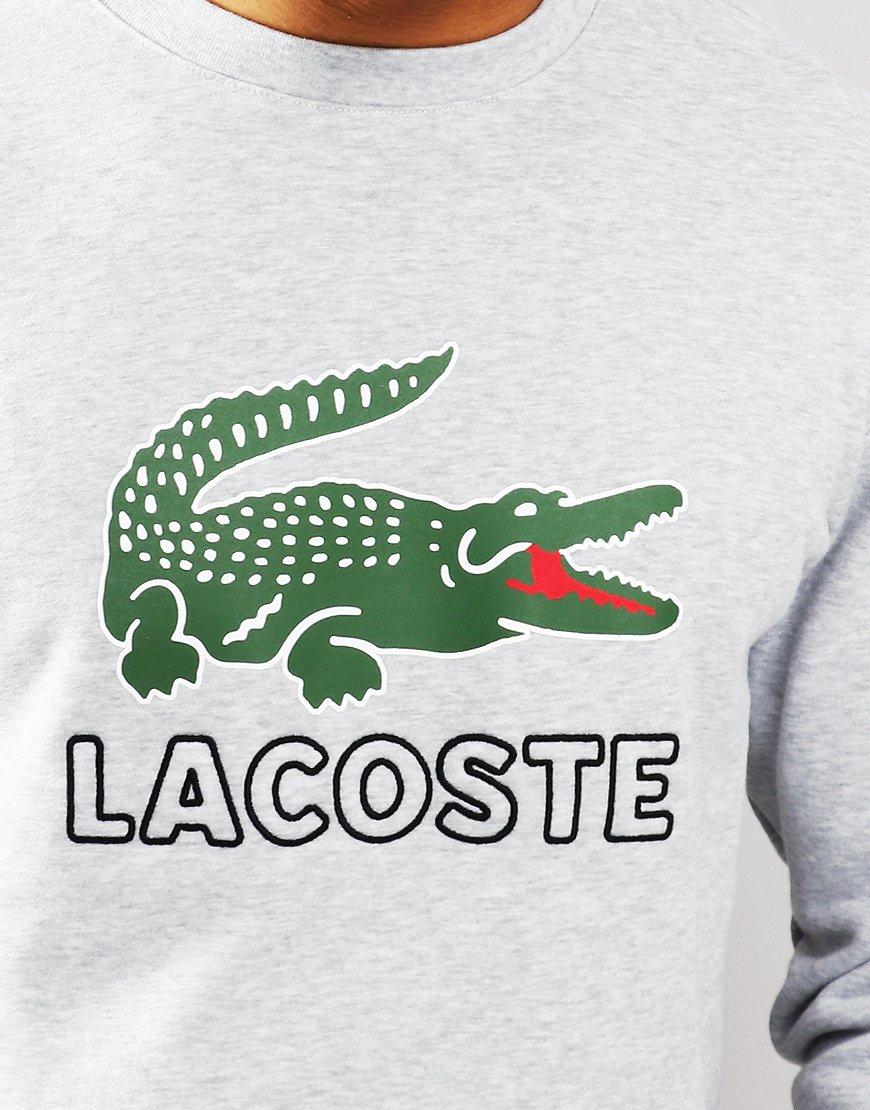 Lacoste Logo Crew Sweat Silver Chine
