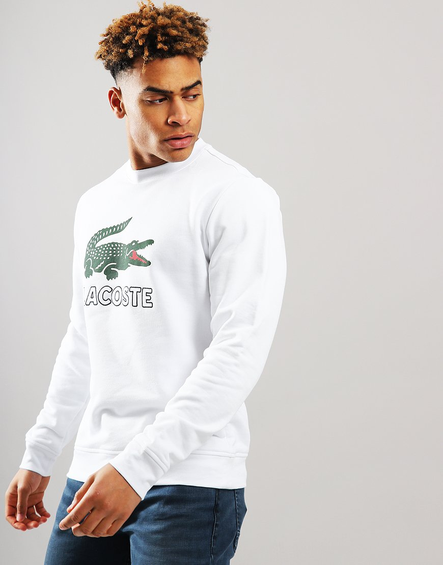 Lacoste Logo Crew Sweat White