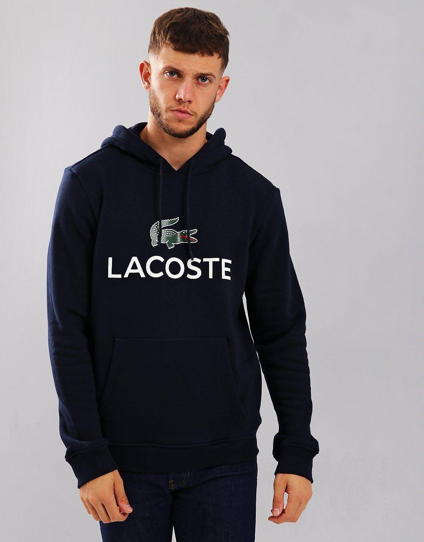 Lacoste Logo Hooded Sweat Navy