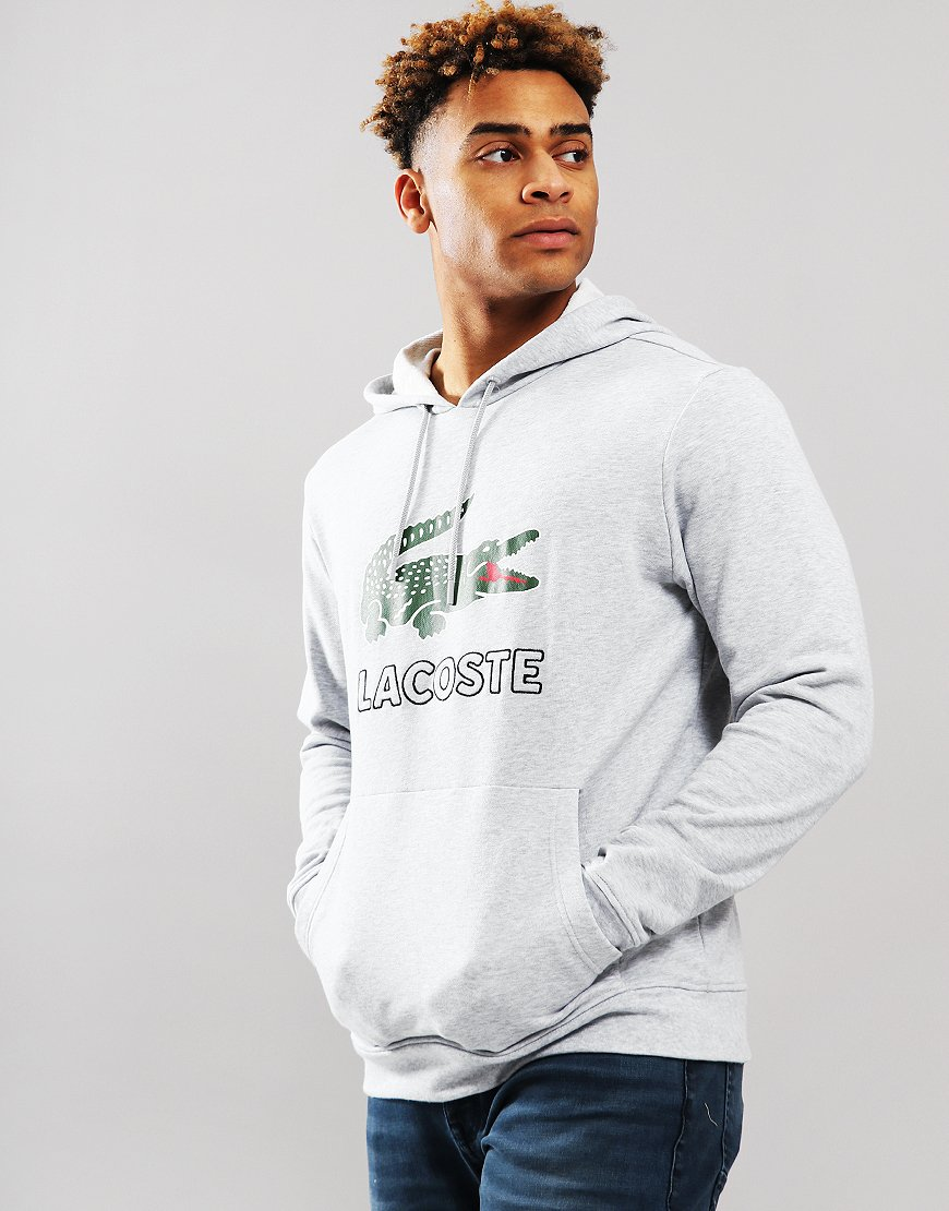 Lacoste Logo Hoodie Silver Chine