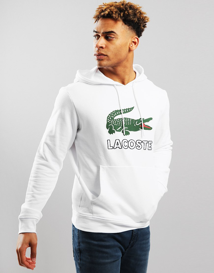 Lacoste Logo Hoodie White