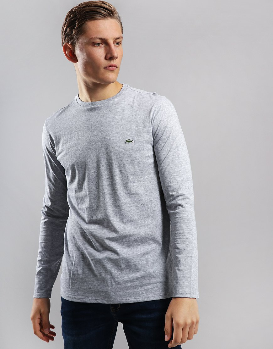 Lacoste Long Sleeve Plain T-Shirt Silver Chine