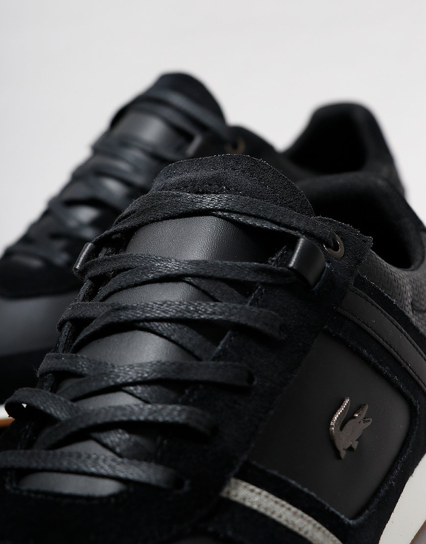 Lacoste Menerva 319 Leather Trainers Black/Khaki