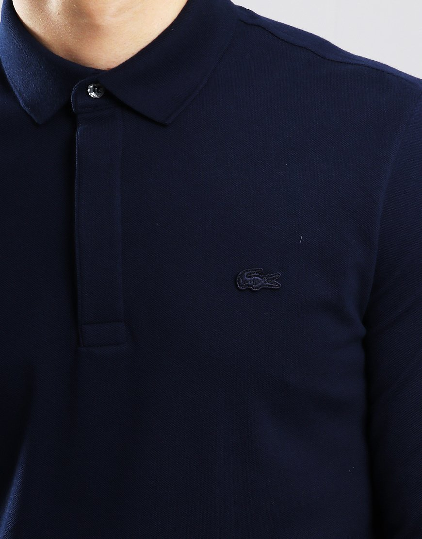 5e2737be3 Lacoste Paris Long Sleeve Polo Shirt Navy - Terraces Menswear