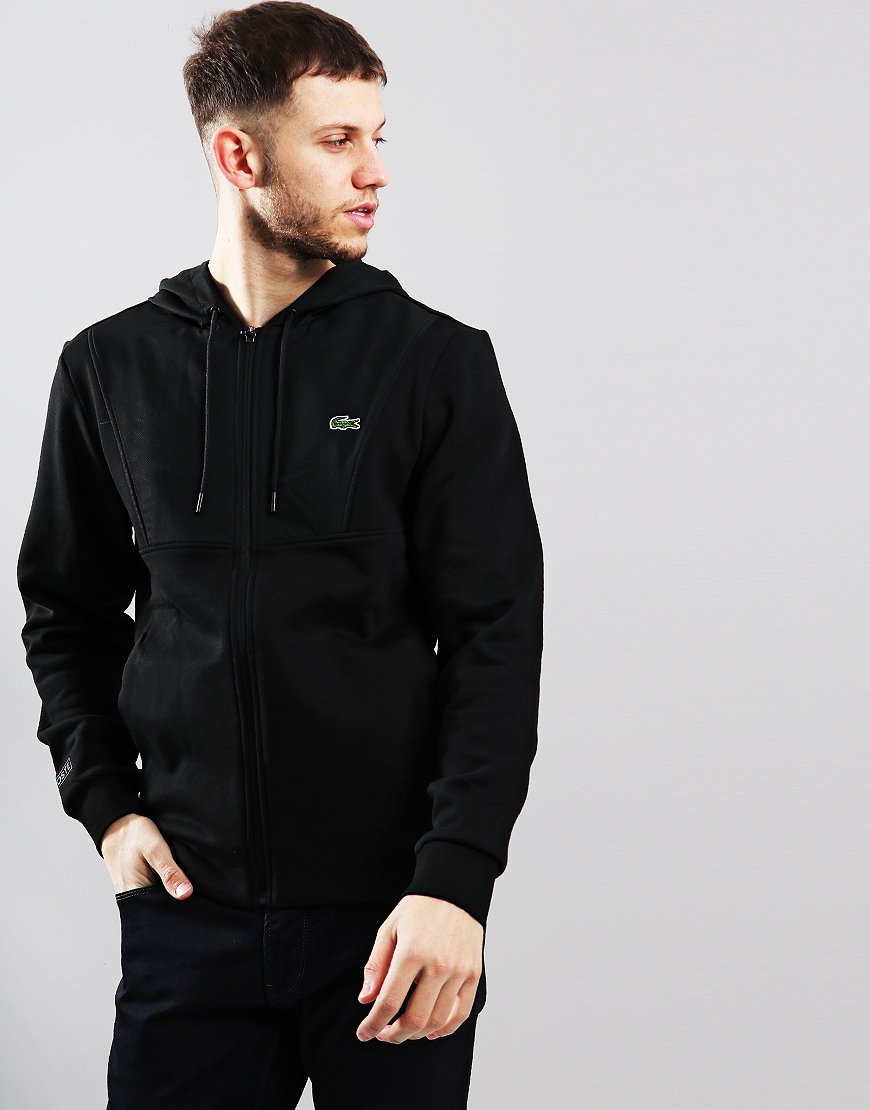 Lacoste Contrast Panel Hooded Sweat Black