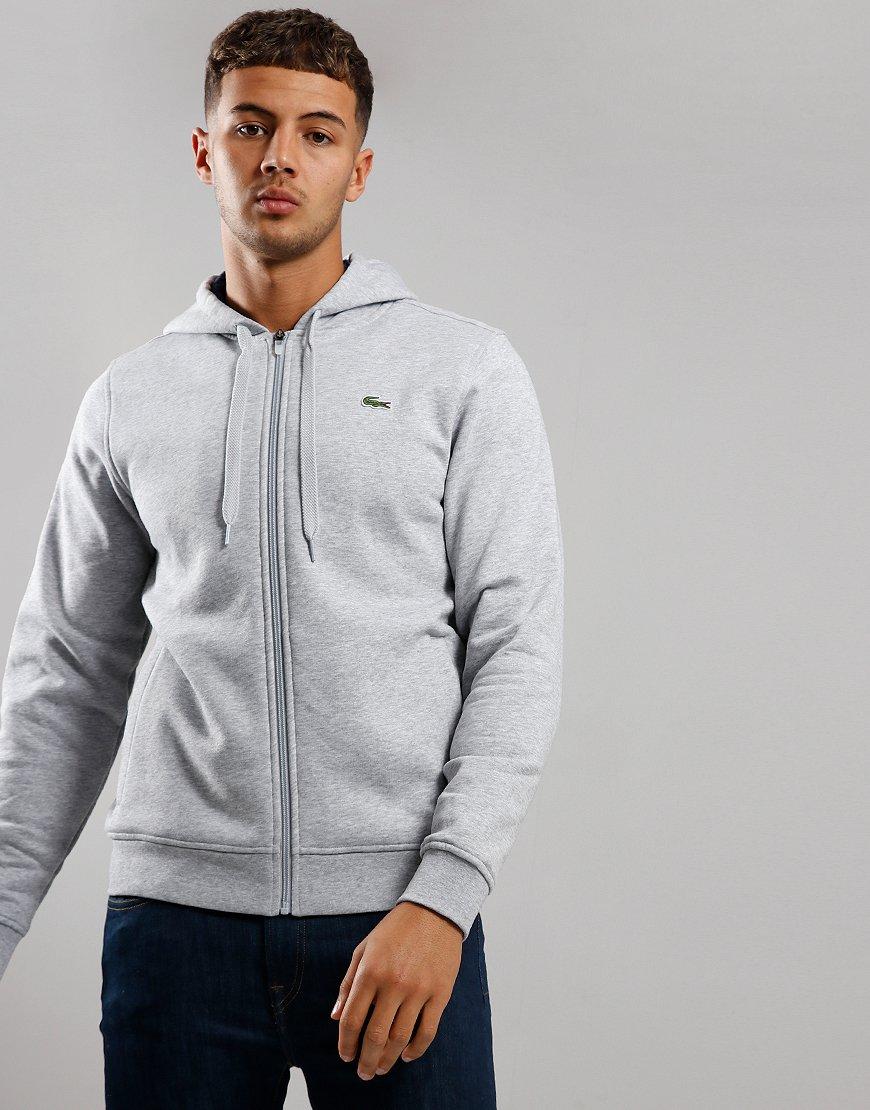 Lacoste SPORT Hooded Zip Sweat Silver/Navy