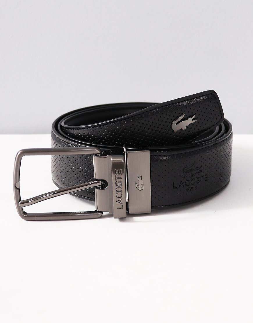 Lacoste Engraved Buckle Reversible Punched Leather Belt Black