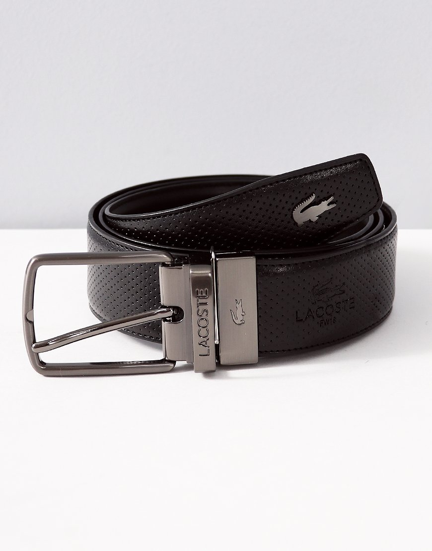 Lacoste Engraved Buckle Reversible Punched Leather Belt Brown