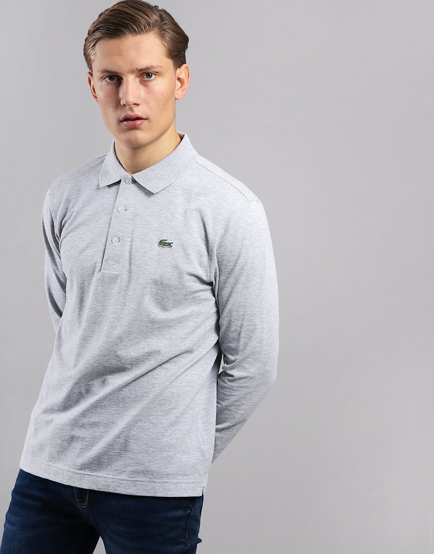 Lacoste SPORT Long Sleeved Polo Shirt Silver Chine