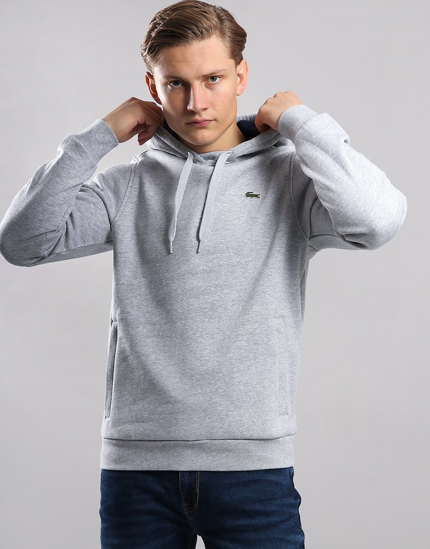 Lacoste SPORT Pullover Hooded Sweat Silver Chine/Navy Blue