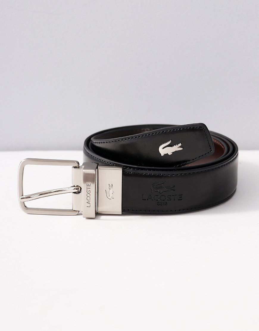 Lacoste Engraved Tongue Buckle Reversible Leather Belt Black/Brown