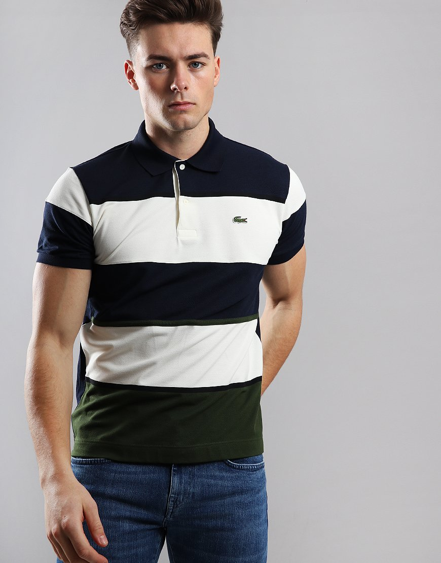 3204f29d80 Lacoste Striped Piqué Polo Shirt Caper Bush
