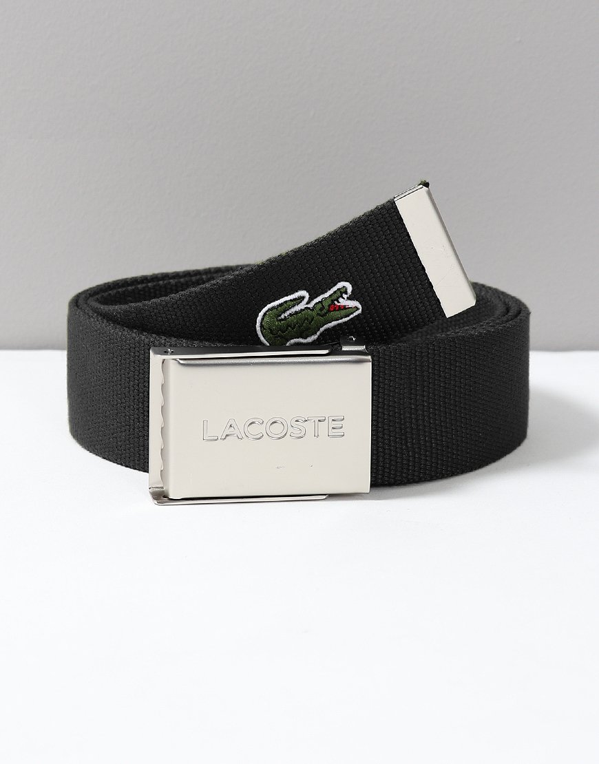Lacoste Made in France Woven Fabric Belt Black