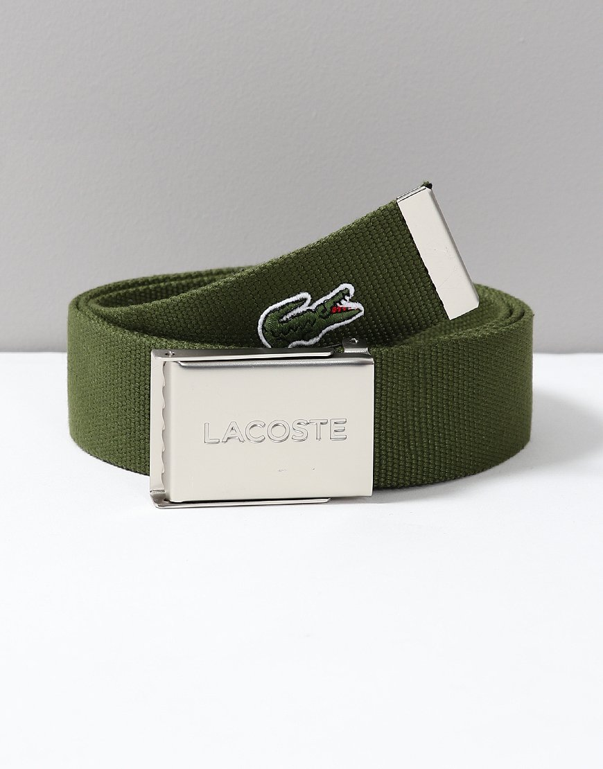 Lacoste Made in France Woven Fabric Belt Marsh