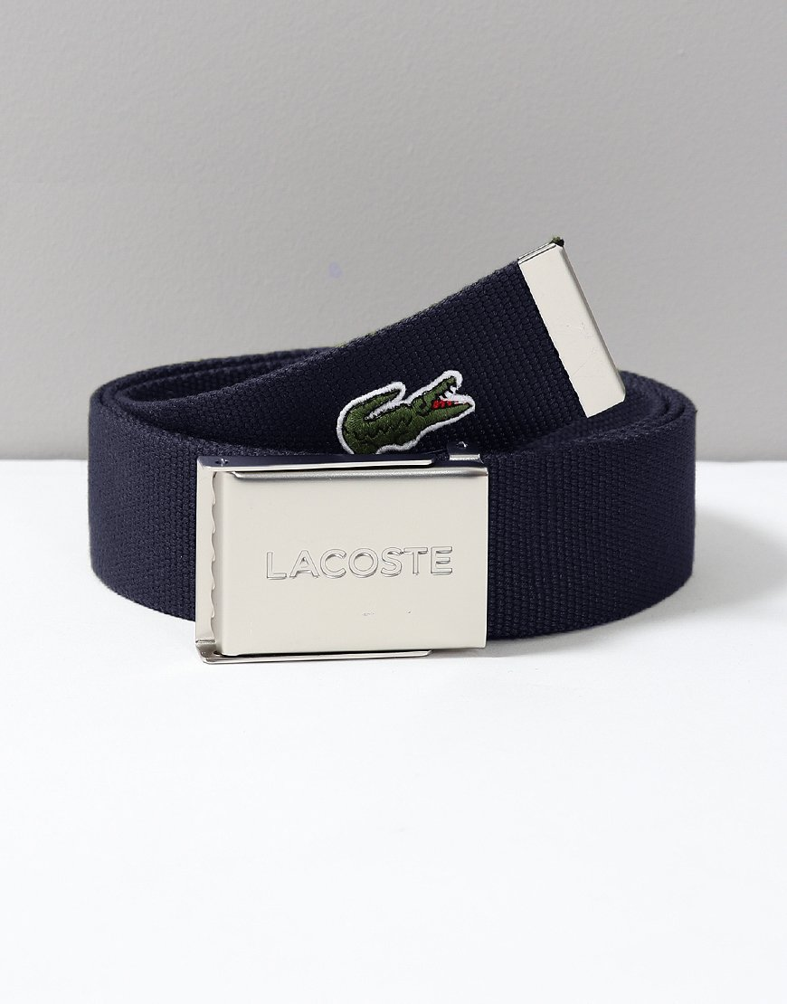 Lacoste Made in France Woven Fabric Belt Navy
