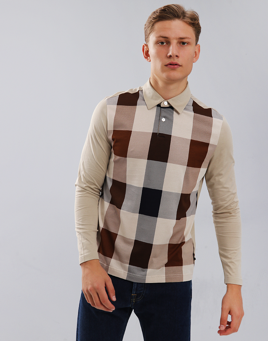 Aquascutum Abner Large Club Check Front Polo Shirt Beige