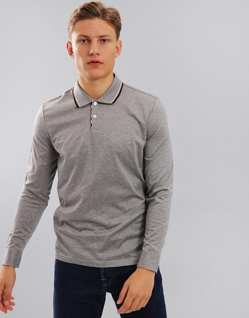 Aquascutum Bert Long Sleeve Polo Shirt Grey Melange