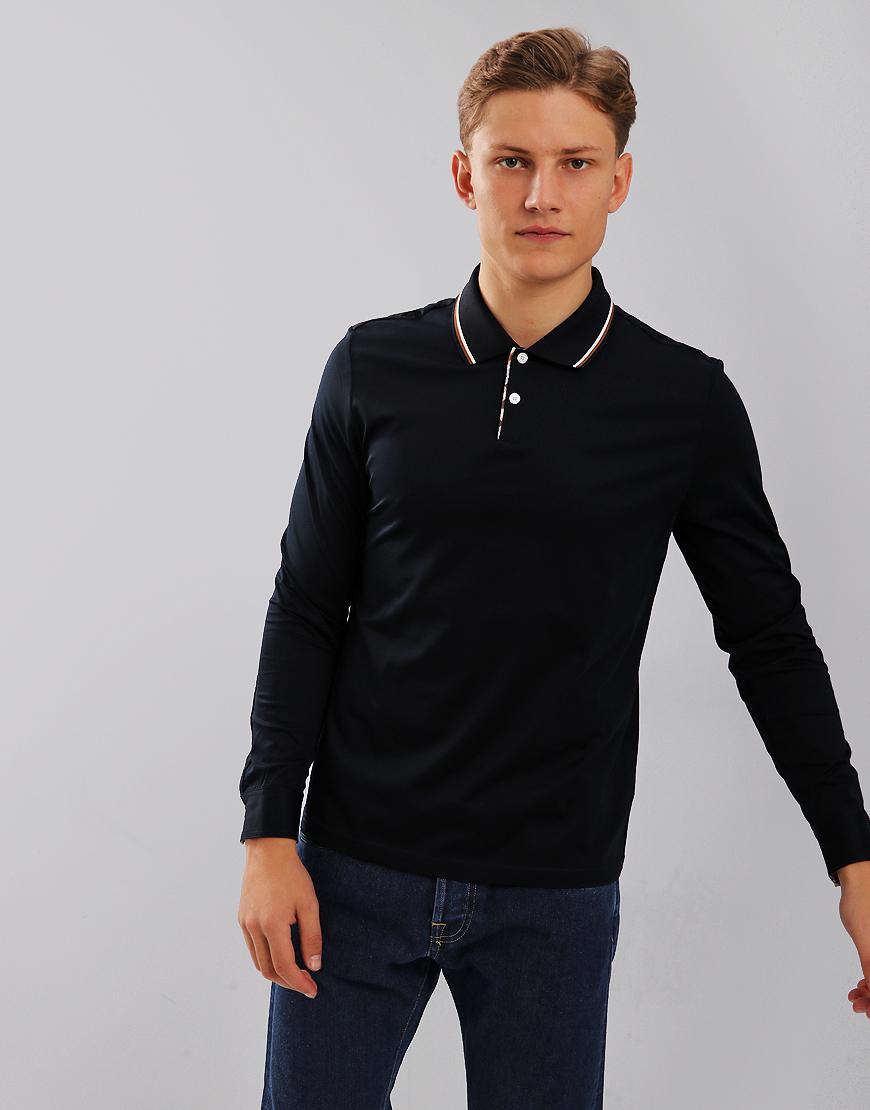 Aquascutum Bert Long Sleeve Polo Shirt Navy