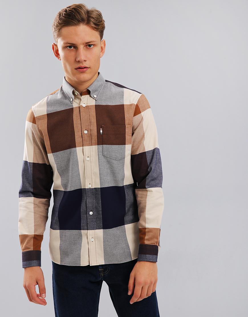 Aquascutum Gunn Long Sleeve Club Check Shirt Vicuna