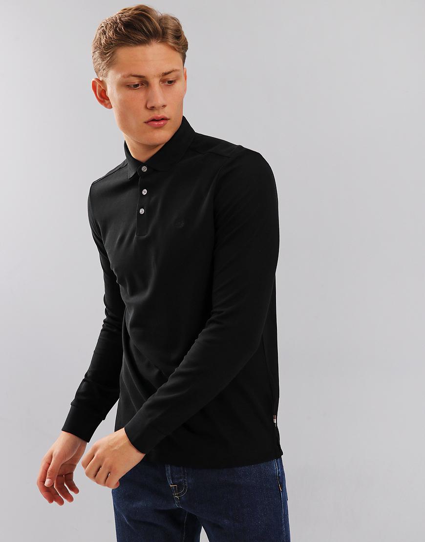 Aquascutum Hillington Long Sleeve Polo Shirt Black