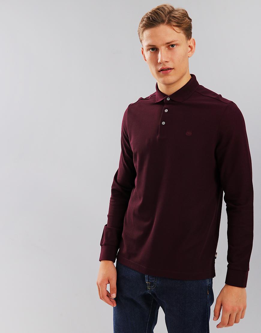 Aquascutum Hillington Long Sleeve Polo Shirt Port