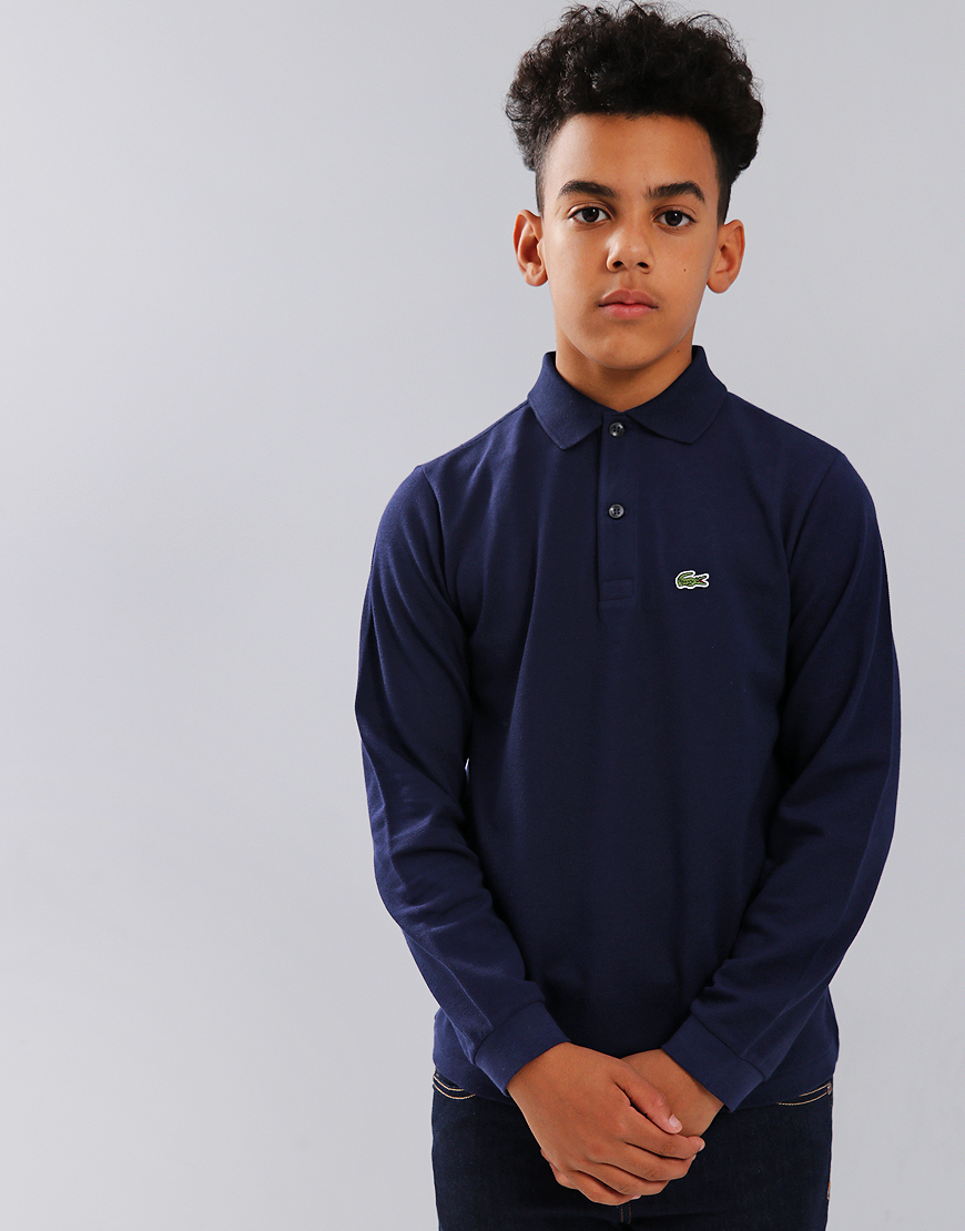 Lacoste Kids Long Sleeve Plain Polo Shirt Navy Blue