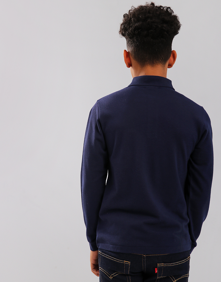 aaf438cccf23 Lacoste Kids Long Sleeve Plain Polo Shirt Navy Blue - Terraces Menswear