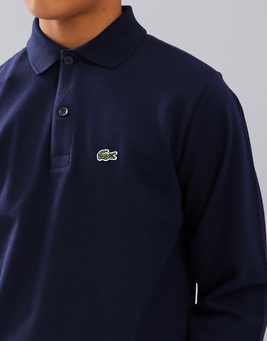 418171fc3 Lacoste Kids Long Sleeve Plain Polo Shirt Navy Blue - Terraces Menswear