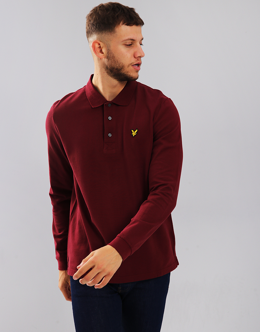 Lyle & Scott Long Sleeve Polo Shirt Claret Jug