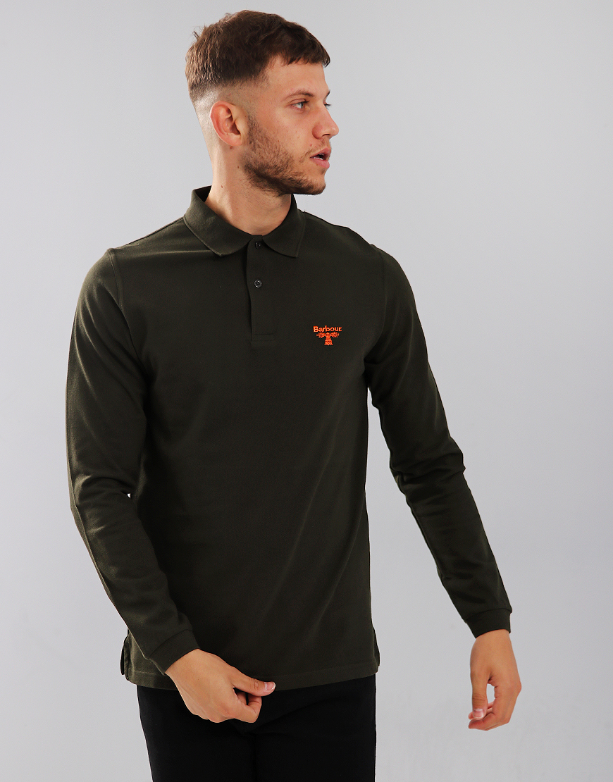 Barbour Beacon Long Sleeve Polo Shirt Forest