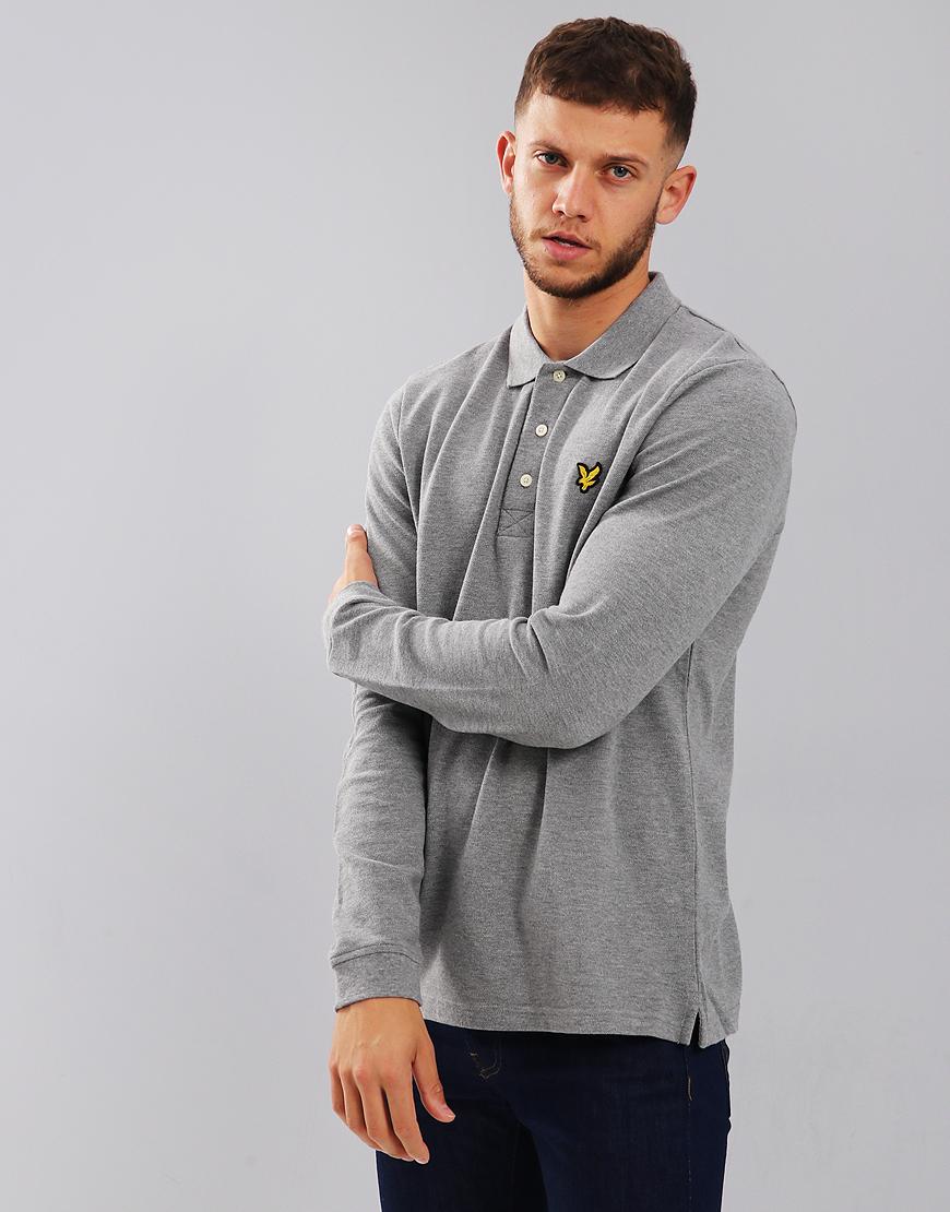 Lyle & Scott Long Sleeve Polo Shirt Mid Grey Marl