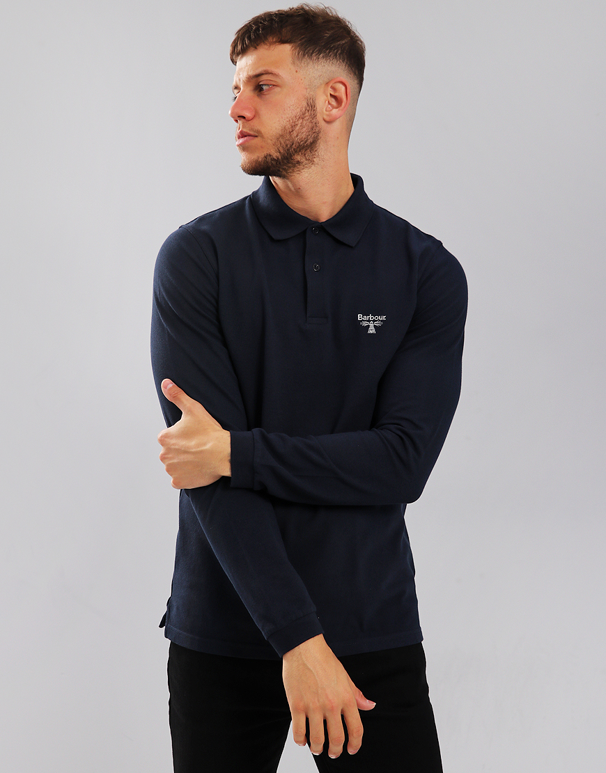 Barbour Beacon Long Sleeve Polo Shirt Navy