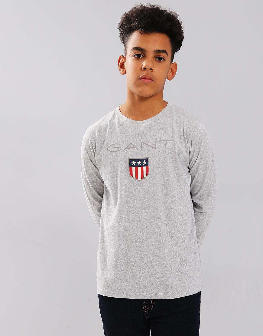 Gant Kids Shield Long Sleeve T-Shirt Grey
