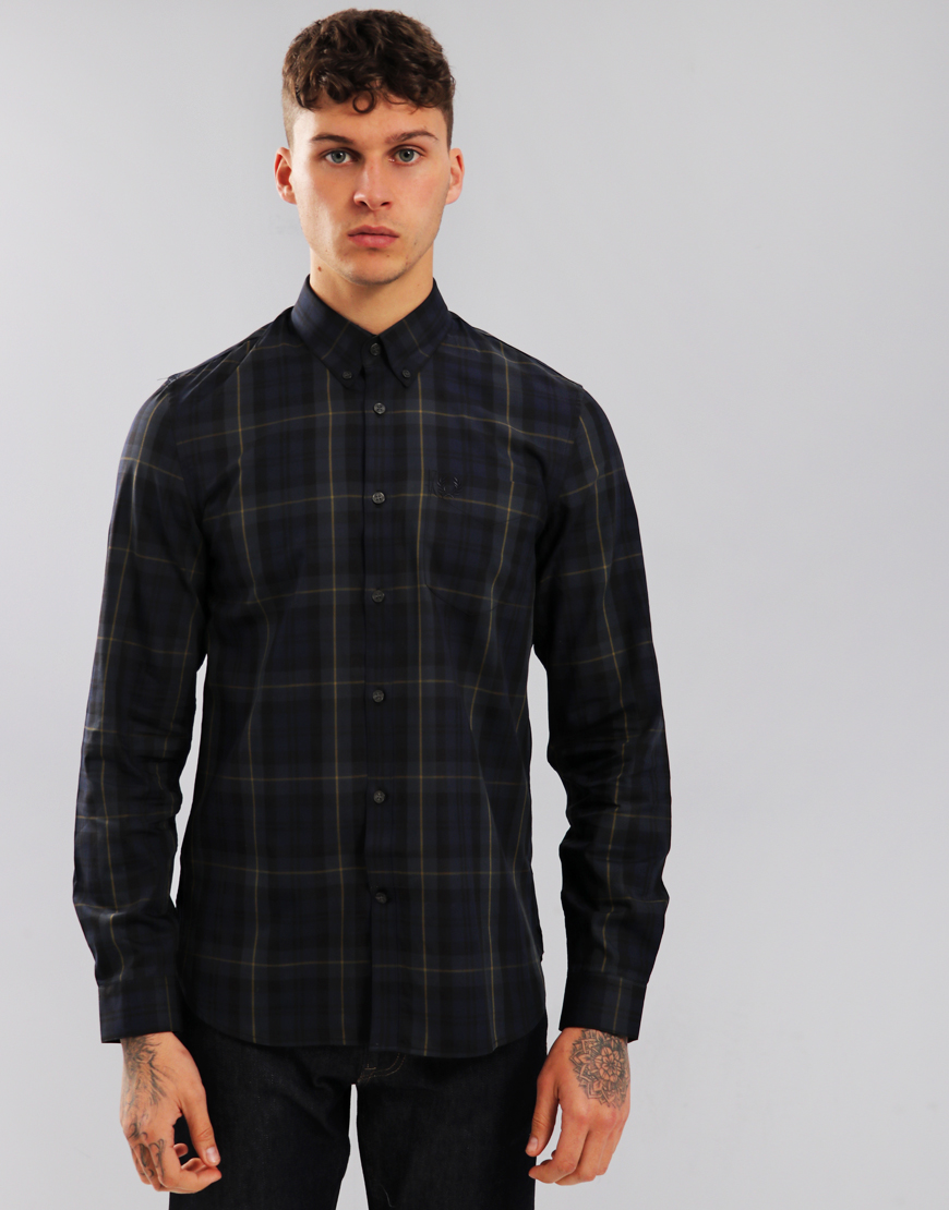 Fred Perry Contrast Stripe Tartan Shirt Navy