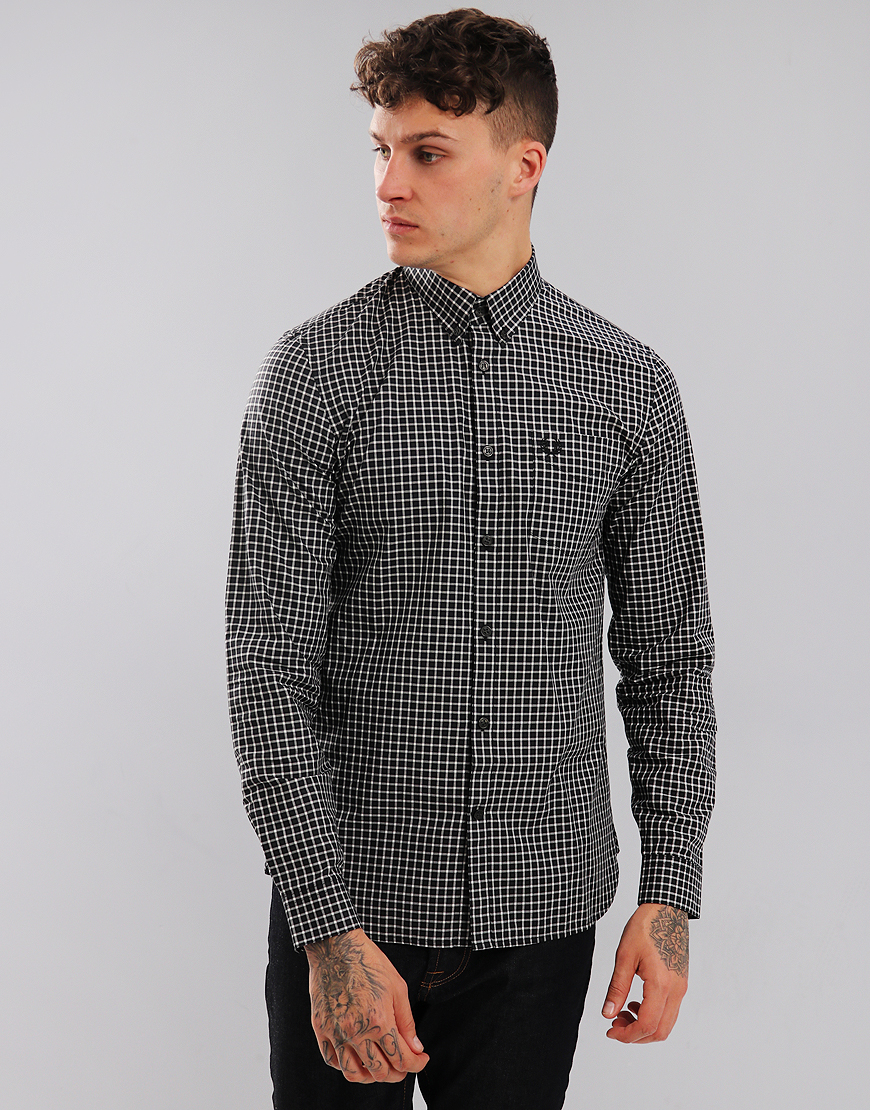 Fred Perry 3 Colour Gingham Shirt Black