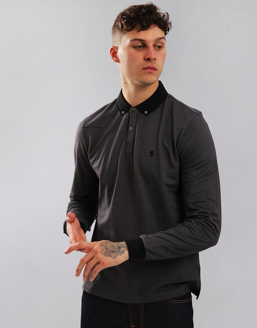 Luke 1977 Billiam Long Sleeve Polo Shirt Marl Black