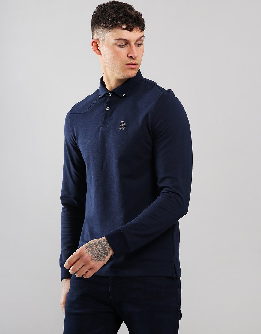 Luke 1977 Long New Bil Long Sleeve Polo Shirt Navy