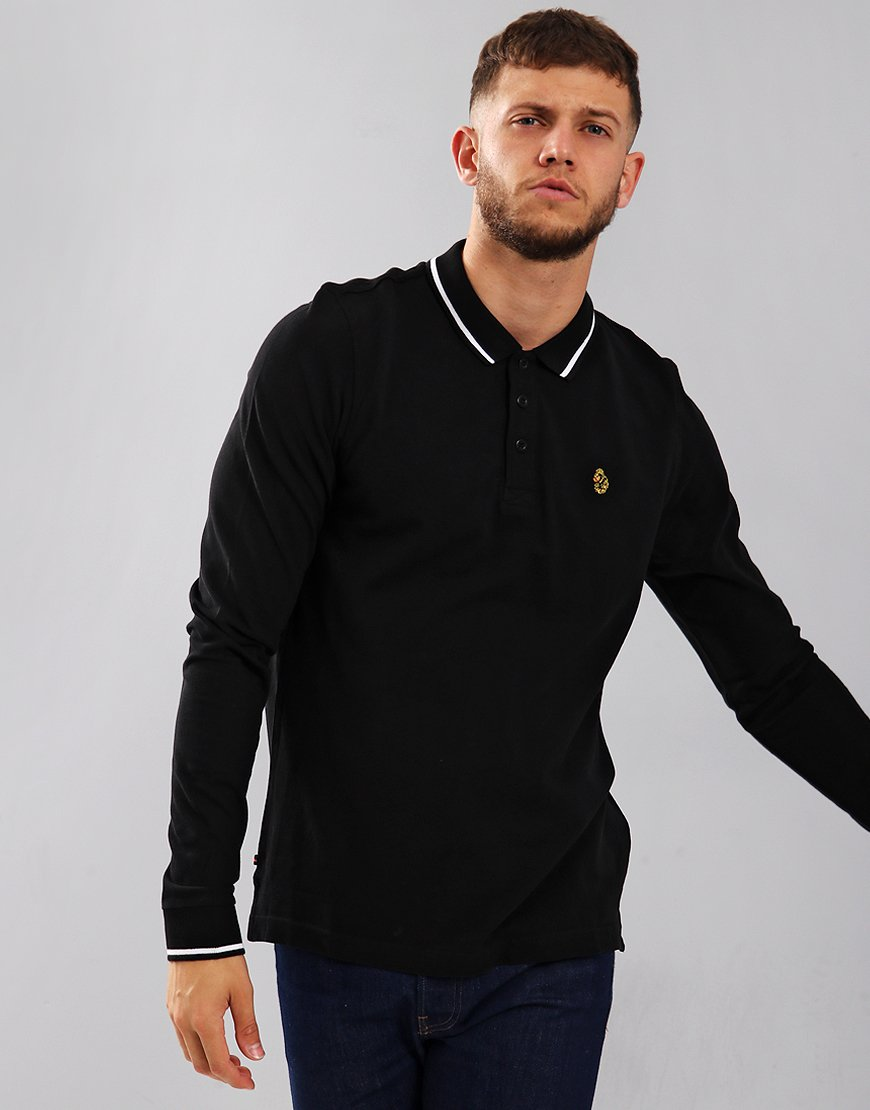 Luke 1977 Longmead Long Sleeve Polo Shirt Black