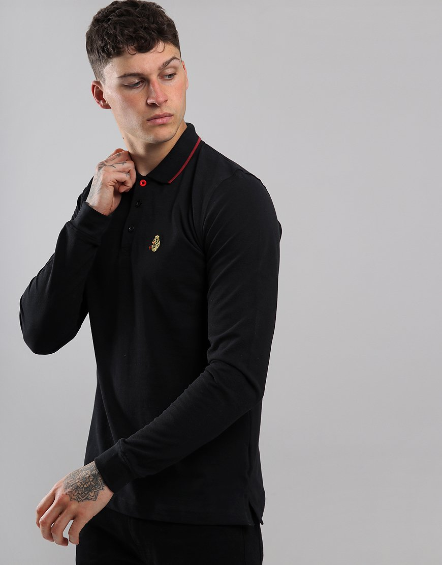 Luke 1977 Longmead Long Sleeve Polo Shirt Black/Red