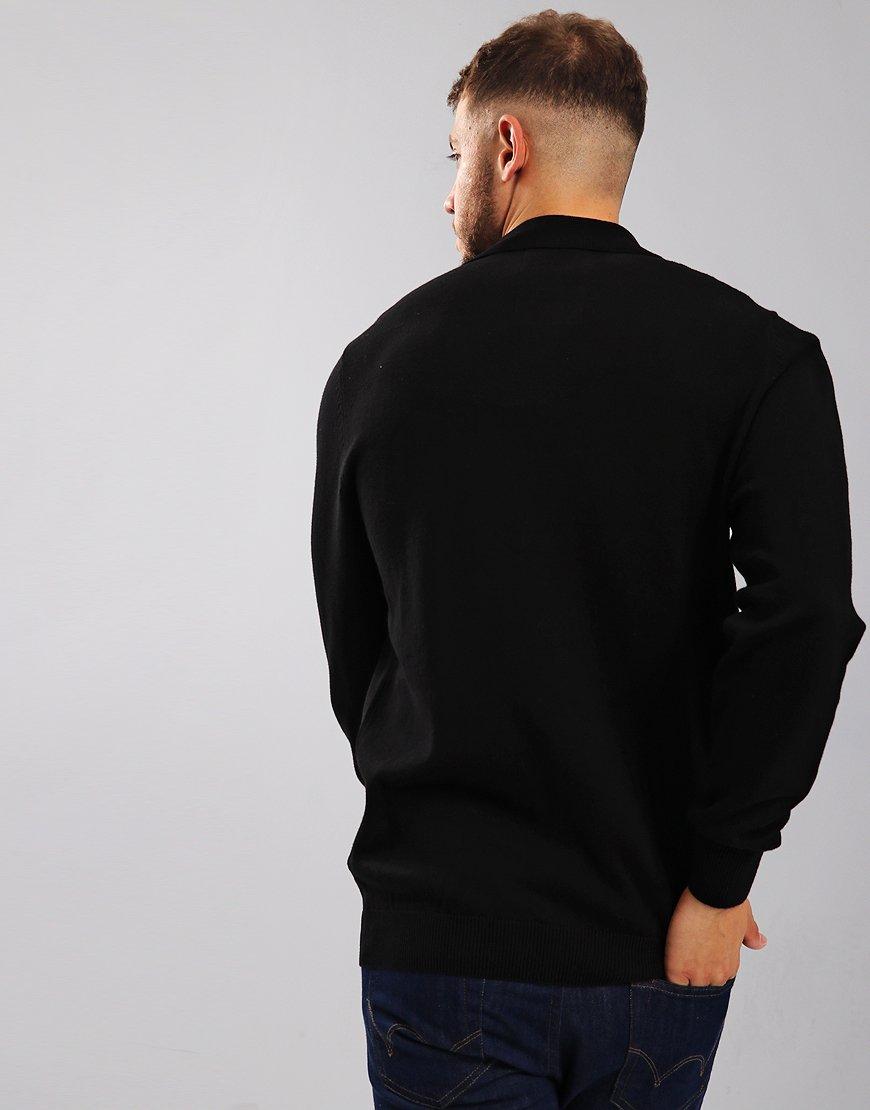 Luke 1977 Magnesium Long Sleeve Knitted Polo Shirt Black