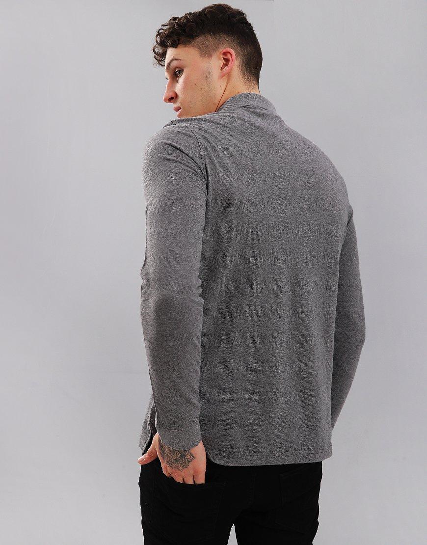 Luke 1977 Williams Long Sleeve Polo Shirt Mid Marl Grey