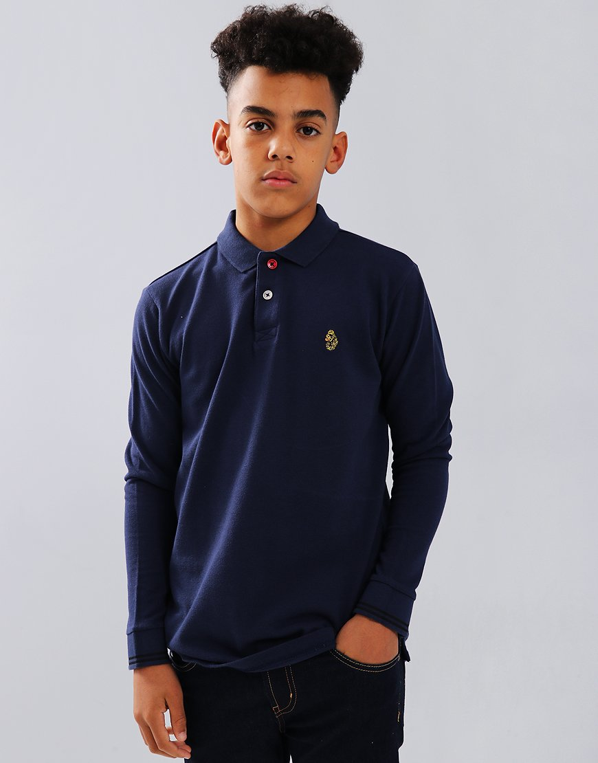 Luke Kids New Long Mead Long Sleeve Polo Shirt Navy