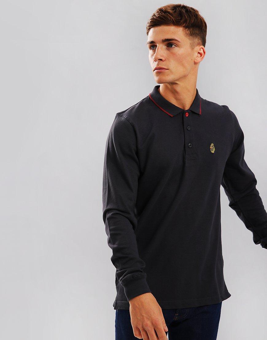 Luke 1977 Longmead Long Sleeve Polo Shirt Charcoal