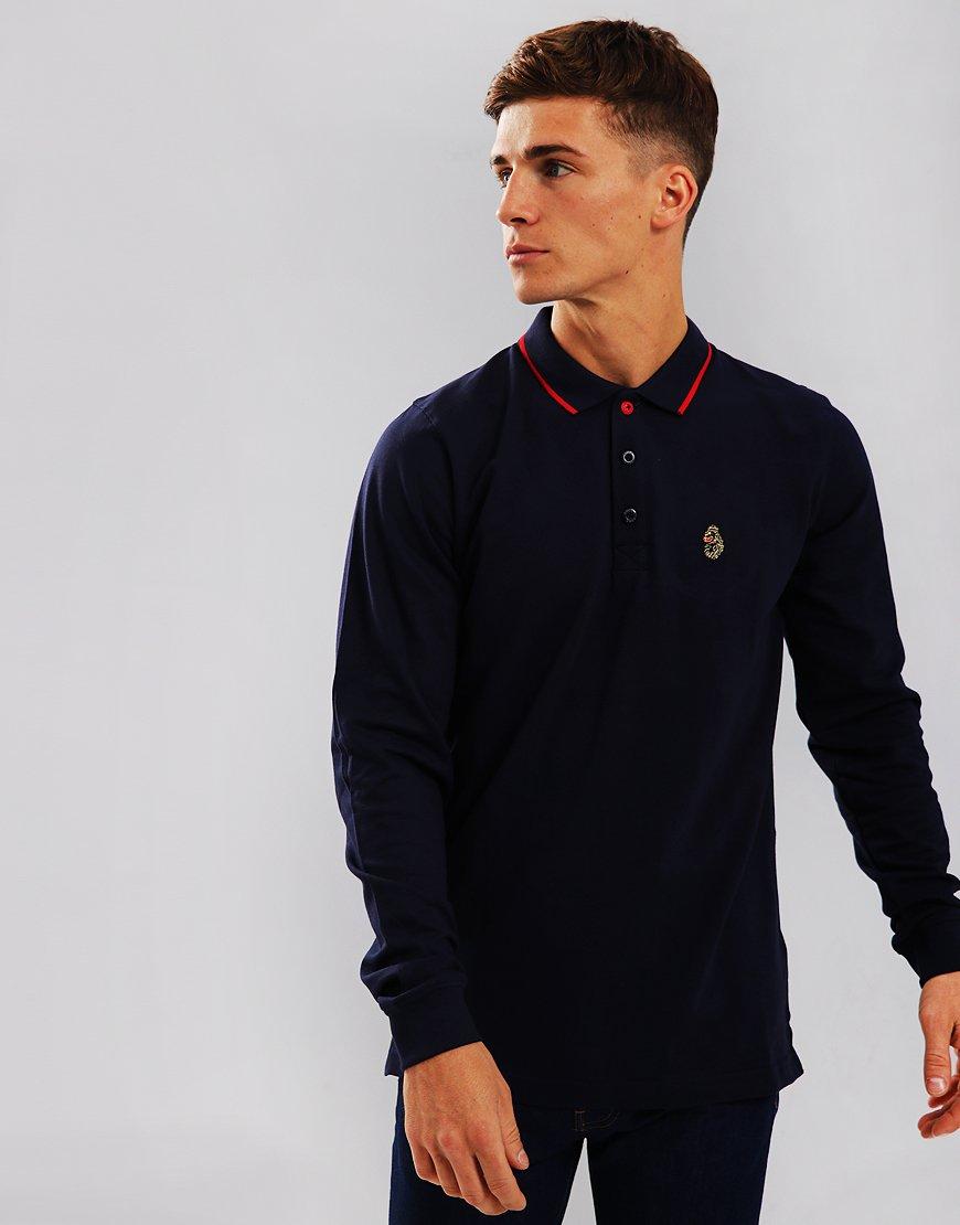 Luke 1977 Longmead Long Sleeve Polo Shirt Lux Navy