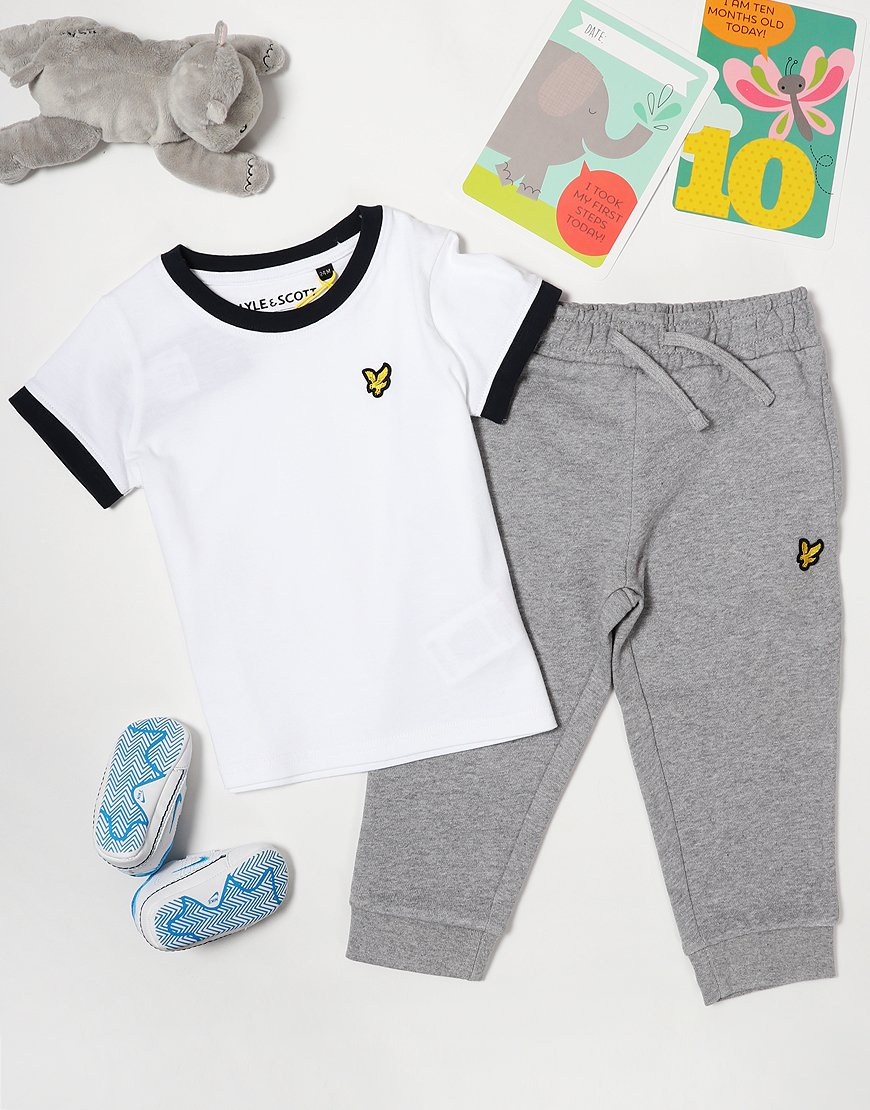 Lyle & Scott Ringer T-Shirt/Jogger Set Bright White