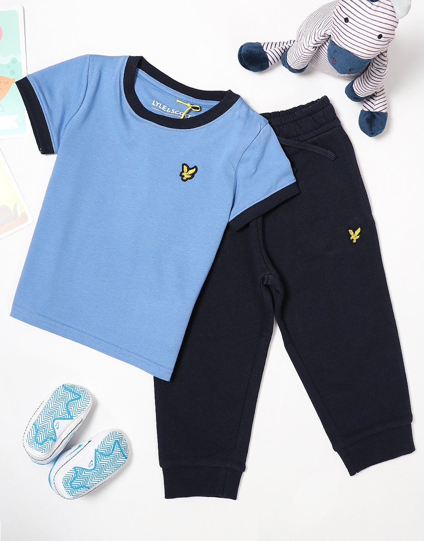 Lyle & Scott Ringer T-Shirt/Jogger Set Sky Blue