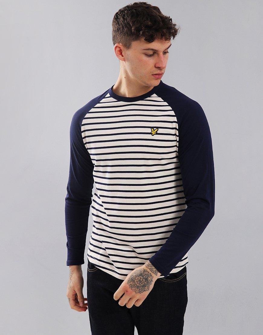 Lyle & Scott Long Sleeve Breton Baseball T-Shirt Navy