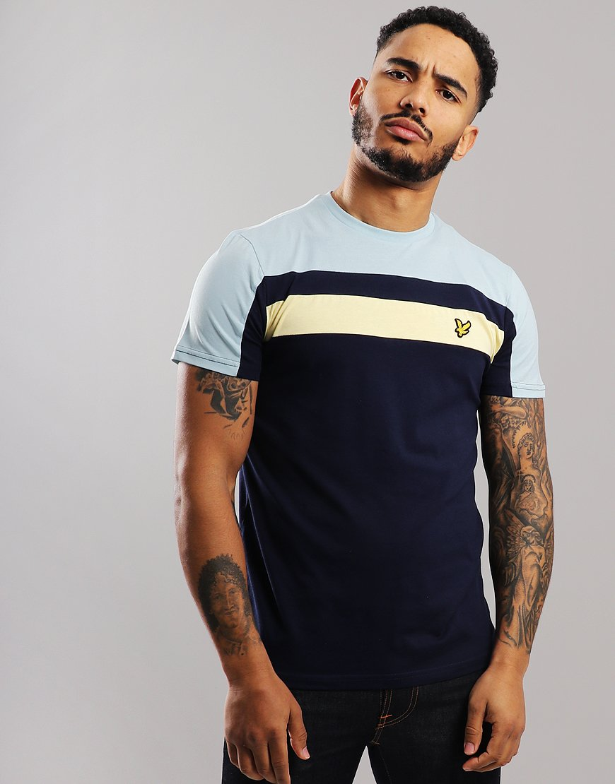 834b1755 Lyle & Scott Block T-Shirt Navy - Terraces Menswear