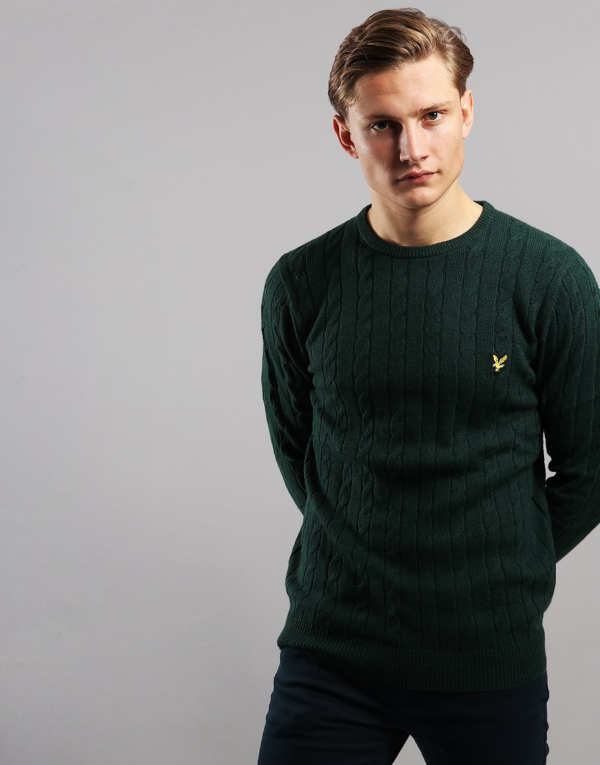 Lyle & Scott Cable Knit Crew Neck Jumper Jade Green