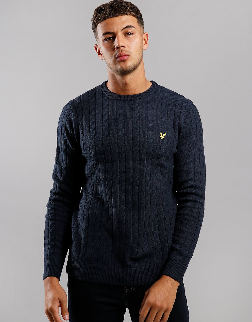 Lyle & Scott Cable Knit Crew Neck Jumper Dark Navy